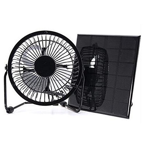 INGHU - Ventilador de Panel Solar con ventilación, 3 W, 6 V, Mini Ventilador de Hierro para Coche, Caravana, Invernadero, cobertizo, Autocaravana, casa, Oficina, Negro, Tamaño Libre