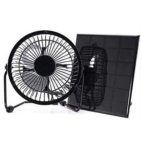 3 watt 6 v solar panel powered fan 4 zoll lüftung usb mini fan für camping reisen büro caravan yacht haus ventilator rv gewächshaus dach vent(schwarz) (Haus Vent Fans)