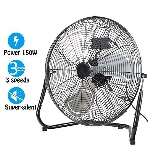Dawoo 20'Ventilatore Industriale 50cm Ventilatore a 3 Velocità Potente Ventilatore Da 150 W Ad Alta Velocità Da Pavimento , Adatto Per Officina, Magazzino (Nero)(20)
