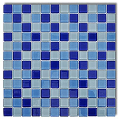 20x Glass Mosaik Fliesen Blau-weiß 1,8 qm von vidaXL - TapetenShop