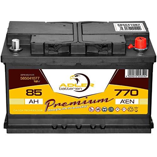 PKW Batterie 12V 85Ah 770A Adler Premium Autobatterie statt 70 72 74 77 80 Ah