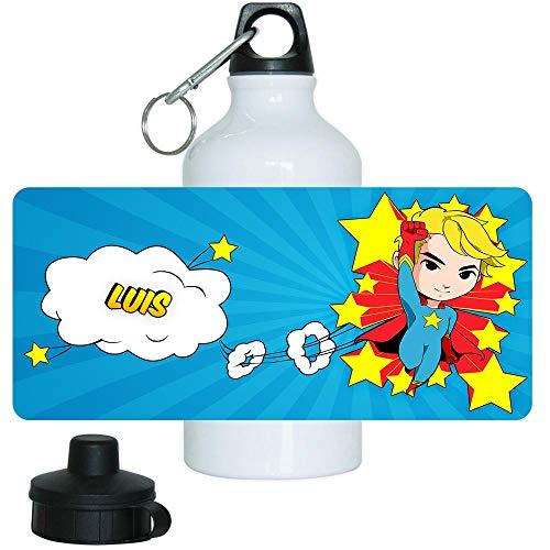 Eurofoto Trinkflasche mit Namen Luis und Motiv mit Superheld für Jungen | Motiv-Trinkflasche | Kinder-Aluflasche
