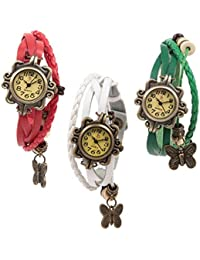 Freny Exim Combo Of 3 Vintage Strap Red White And Blue Fancy And Trendy Watches For Girls - For Women