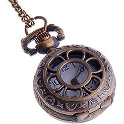 Ladies Quartz Pocket Pendant Watch With Chain Small Face White Dial Arabic Numerals Vintage Necklace Flower-Web Design PW-57