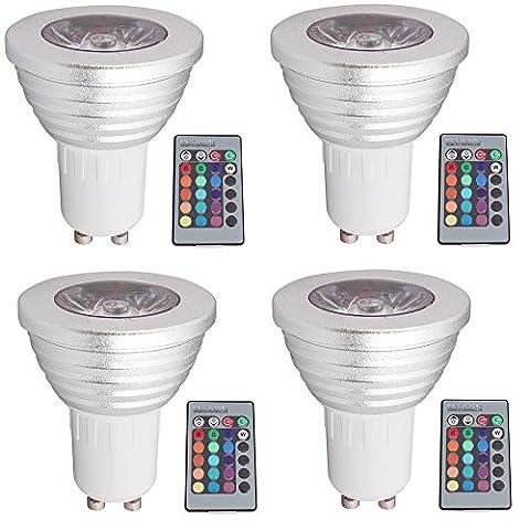 Dimmable GU10Ampoules LED 3W RGBW Couleur Ambiance et lumière du jour Blanc spot avec télécommande IR éclairage d