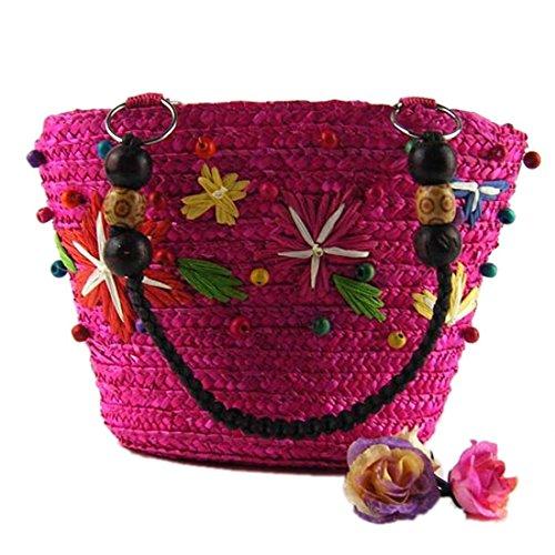 Donne Caramella Di Estate Casuale Colore Tessitura Tote Bag Borse Di Spalla Di Acquisto Rosa Rossa
