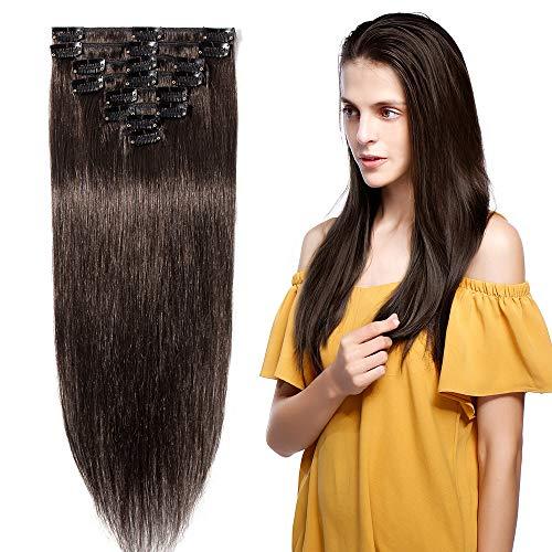 8pz 18 clips 45cm-55cm extension capelli veri clip umani testa completa resistente al calore parrucca donna