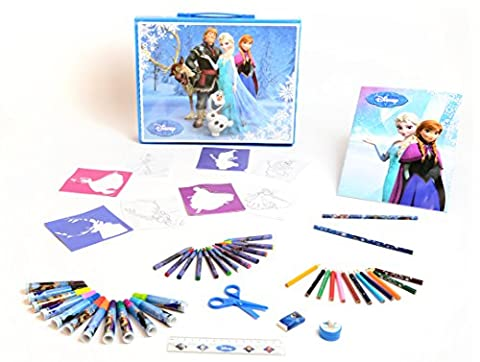 Disney Frozen - Mega Art Case ( Carry Along ) - Paint / Drawing Set with: Frozen Markers, Pencils, Crayons, Eraser, Sharpener, Liner, Notebook, Scissors, Stencils, Paint, Brush. - Fare Body Glitter