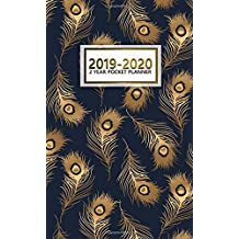 2019-2020 2 Year Pocket Planner: Monthly Peacock Planner with Phone Book, Password Log and Notebook. Nifty Feathers 24 Month Agenda and Organizer.