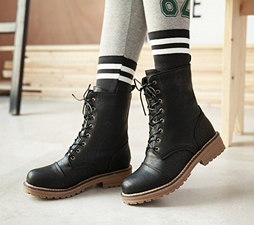 Mee Shoes Damen runde kurzschaft Schnürsenkel chunky heels Stiefel Schwarz