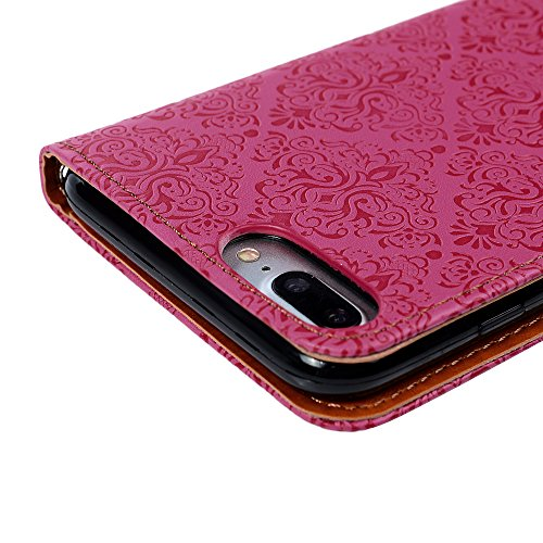 "iPhone 7 Plus Wallet Case YOKIRIN Flip Hülle für iPhone 7 Plus (5.5"") Flipcase Premium PU Leder Brieftasche Book Case TPU Innenschale Ledercase Handyhülle Folio Schutzhülle Handytasche Handyschale Sta Rose Rote"