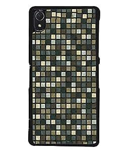 PrintVisa Designer Back Case Cover for Sony Xperia Z3 :: Sony Xperia Z3 Dual D6603 :: Sony Xperia Z3 D6633 (Pattern checks black grey diamonds)