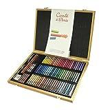 Conté a Paris Bambuskasten mit 84 farbigen Carré Kreiden, Pastellkreiden in Vierkantform, 70 farbige Carré Kreiden, 14 Skizzen Carré Kreiden, 3 Skizzenstifte und Zubehör