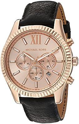 Michael Kors Lexington - Reloj análogico de cuarzo con correa de cuero para hombre, color negro/oro rosa