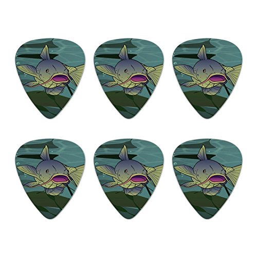 Wels Schwimmen in Wasser Neuheit Gitarre Plektrum Plektron Picks Stärke Medium–Set of 6 (Schwimmen, Fluss Angeln)