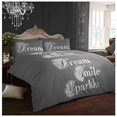 Lions Modern Printed Sparkle Duvet Cover Quilt Bedding Set and Pillow Cases Polyester-Cotton (Grey, Double)