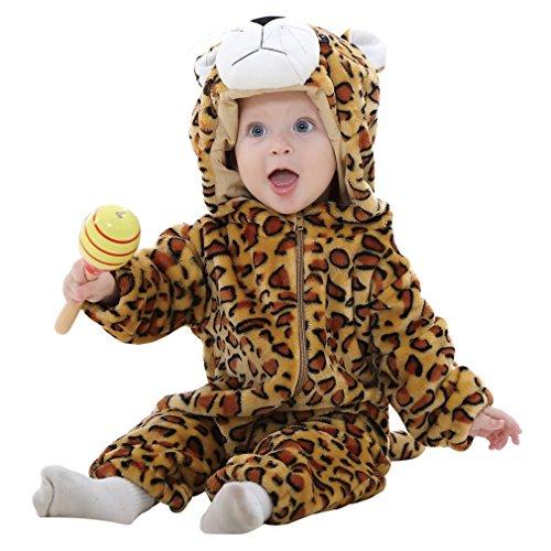 MICHLEY Baby mädchen und junge Flanell Winter Strampler Bekleidung Karikatur Tier Jumpsuit Spielanzug( Leopard 70 )