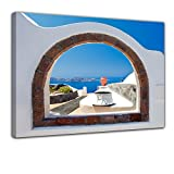 Bilderdepot24 Kunstdruck - Window to paradise - Fenster zum Paradies - Bild auf Leinwand - 80x60 cm - Leinwandbilder - Bilder als Leinwanddruck - Wandbild
