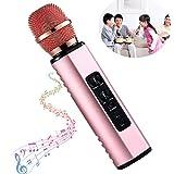 Jingfude Micrófono Karaoke Inalámbrico con Reproductor Música Bluetooth, Grabadora con Tarjeta TF para Juguetes Niños, Fiesta Reunión Familiar, Estéreo para Automóvil y Alojamiento (Oro Rosa)