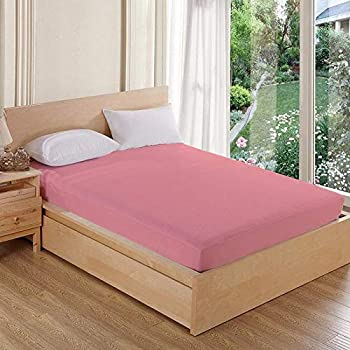 AVI 100% Waterproof Soft Terry Cotton Fitted Mattress Protector/Bed Cover for Double Bed-Pink (72 X 72 inches)