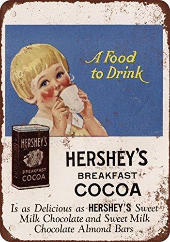 Cartel de Metal con Aspecto Vintage de Cacao de Desayuno de Hershey de 1926 DE 20 x 30 cm