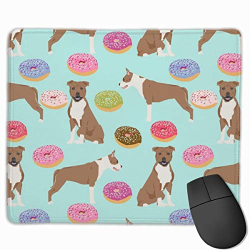 Staffordshire Terrier Dog Mint Donuts Doughnuts Cute Dogs Pet Pets Food Donuts Mousepad 18x22 cm -
