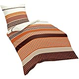 Fleuresse 433049 - Juego de cama (funda de edredón y almohada, 200 x 220 cm), diseño de cachemir, color naranja terracota y marrón