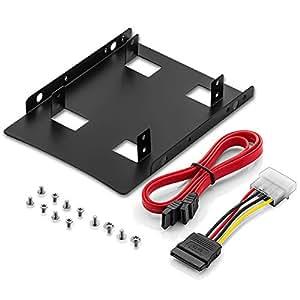 """Einbaurahmen 2,5"""" Festplatte SSD auf 3,5"""" Adapter Festplatten Einbau Rahmen (kompatibel mit bis zu 2x 2,5"""" Festplatten HDD oder SSD) Wechselrahmen Halterung"""
