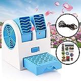Condizionatore Portatile, (Tuyere regolabile) 3 In 1 Mini Air Cooler Personale Refrigeratore d'Aria Mobile Ventilatore USB, Umidificatore Purificatore Aria, Per Casa/Ufficio/Campeggio (Blu)