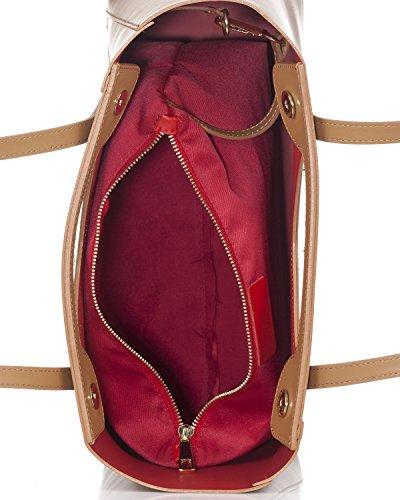 Laura Moretti - Borsa in pelle con chiusura a scatto magnetico Leather