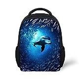 Wrail Unisex-Kinder Rucksack Blauer Ozean Meer Fische Hai Kindergarten Rucksack Reisetasche Kindergartentasche Schultasche für Mädchen Junge Delphin 24x10x30cm