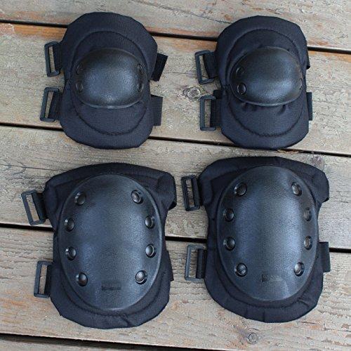 AVSUPPLY 1Set Anatomische Erwachsene Military Tactical Ellenbogen & Knie Sicherheit Pads für extreme sports Sicherheit Racing Enforcer BMX SWAT Skate Skaten Bike Spiel schutzausrüstungen–Schwarz