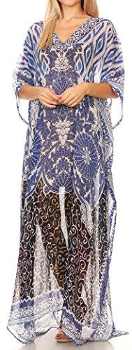 Sakkas Wilder gedruckte Entwurf lange schiere Strass Kaftan Kleid / Vertuschung 17156-BlackWhiteBlue