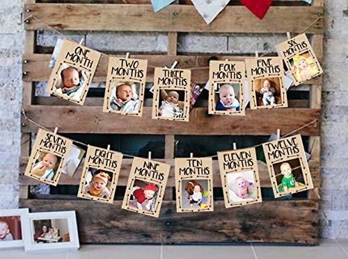 JeVenis Wild One Baby-Fotobanner Wild One 12-Monats-Banner Erste Geburtstagsdekoration 12-Monats-Fotobanner Erste Geburtstagsgirlande Erste Geburtstagsmonats-Fotobanner (Wäscheklammern Für Baby-dusche)
