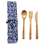 EBILUN Cutlery Set   Travel Cutlery Set   Eco Friendly Flatware Set   Portable Spoon Fork Knife Camping Tableware Set   Reusable Cutlery Set W/Bag for Perfect Replaceing Plastic Cutlery Set 3