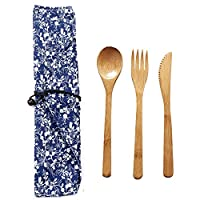 EBILUN Cutlery Set | Travel Cutlery Set | Eco Friendly Flatware Set | Portable Spoon Fork Knife Camping Tableware Set | Reusable Cutlery Set W/Bag for Perfect Replaceing Plastic Cutlery Set 3
