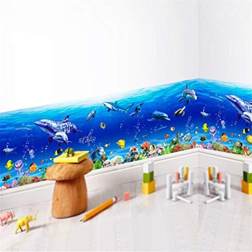 EWQHD Unterwasser-Seabed Fisch Seestern Stern-Wand-Aufkleber-Karikatur-Delphin Wandaufkleber Badezimmer Dekor Kindergarten Kinderzimmer Poster Wandmalerei, D
