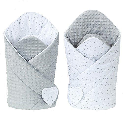 Preisvergleich Produktbild Sevira Kids - Schlafsack -Einwickel- - Nest Engel Geburt minky wendbar - unterschiedliche Farben - Mini Stars Grau, Dès la naissance - 3/4 mois environ (80x80 cm)