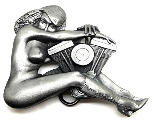 Biker Belt Buckle Nude Girl & V Twin Motorcycle Engine Design Authentic Bergamot BuckleworX Branded Product