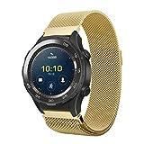 Ansenesna Sportuhr Armband Einstellen Luxus Milanese Edelstahl Uhrenarmband für Sport Digitaluhr Huawei Watch 2 (Golden)