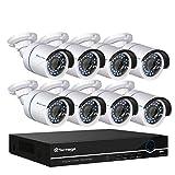 techage 8CH 48V 1080p PoE NVR CCTV Système de Principal de intérieur en plein air étanche de sécurité de surveillance Installation avec ensemble de 8pcs Caméra IP, sans disque dur