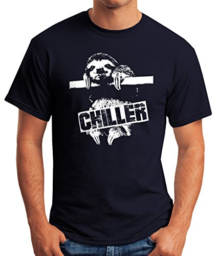 Lustiges Herren T-Shirt Faultier Born Chiller Sloth Fun Shirt Moonworks® Faultier navy