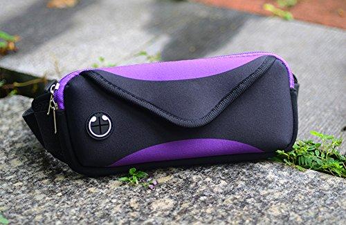 Jiangu, borsa sportiva, uomini e donne corsa attrezzature, mobile phone bag, marsupio multifunzionale impermeabile mini fitness, Grey Purple
