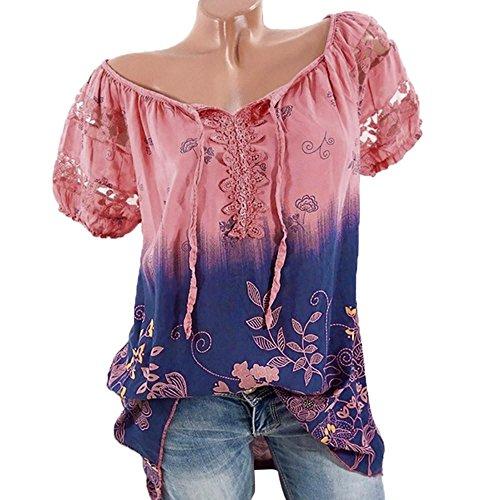 VJGOAL Damen T-Shirt, Damen Mode Kurzarm V-Ausschnitt Spitze Gedruckte Spitze Tops Sommer Lose T-Shirt Bluse (L/42, Wassermelonenrot) (Gold Pailletten Kleid Kostüm Ideen)