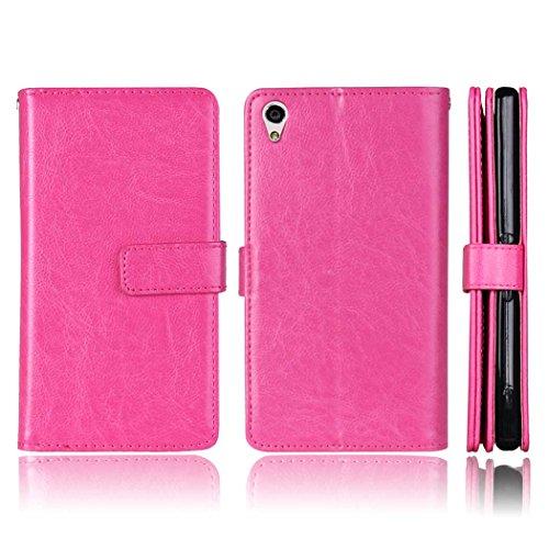 Flip Sony Xperia XA Fall Folio Case Solid Farbe Premium Synthetik-Leder-Kasten-Standplatz-Mappen-Kasten-Kasten mit 9 Karten-Bargeld-Slots für Sony Xperia XA ( Color : Black , Size : Sony Xperia XA ) Pink