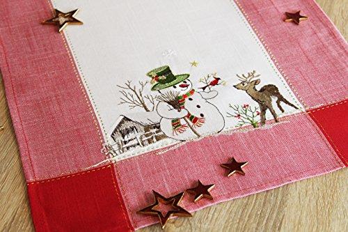 """Bezaubernde Serie """" SNOWMAN MEETS REINDEER """" in creme mit Schneemännern, Rentieren und rotem Rand verziert - ein echtes Schmuckstück - Winter Advent Weihnachten (Tischläufer 40x90 cm)"""