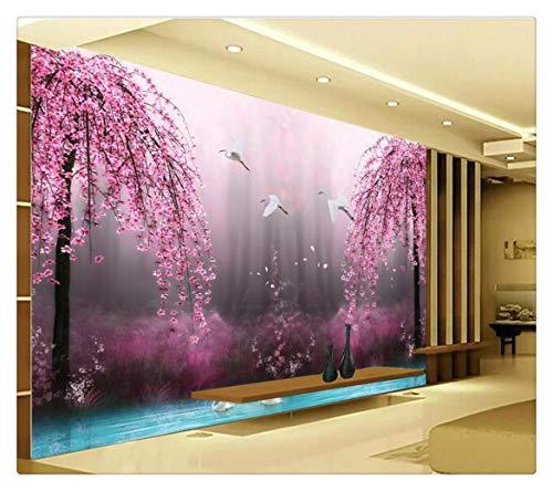 Fototapete Foto Fototapete Romantische Lila Pfirsich Crane Lake Wandkunst Hintergrund Fotografie Schlafzimmer Wandbild Tapete 3D Benutzerdefinierte Malerei Für Wohnzimmer, 350 Cm X 245 Cm