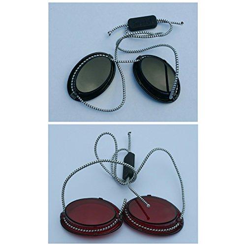 Solarium Schutzbrille rot UV Brille Solariumbrille mit Gummizug 1 X grün + 1 X rot - By Beauty & Legwear Store
