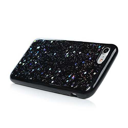 iPhone 7 Cover Silicone e Bling Glitter Brillanti, iPhone 8 Custodia Morbida TPU Flessibile Gomma QuickSand Stella - MAXFE.CO Case Sottile Cassa Protettiva per iPhone 7 / iPhone 8 - Oro Argento