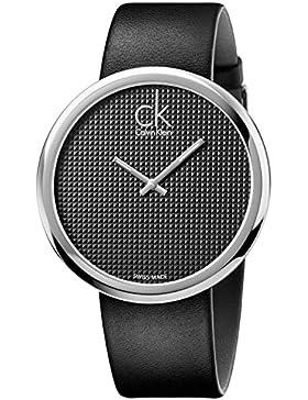 Calvin Klein Damen-Armbanduhr Analog Quarz One Size, schwarz, schwarz